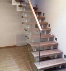 Лестницы массив металл стекло