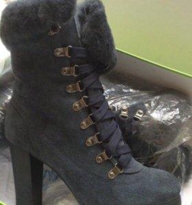 Ботинки женские зимние натур кожа мех р 38 новые