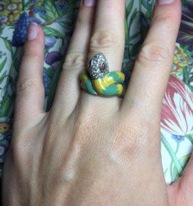 Кольцо змея серебро с эмалью