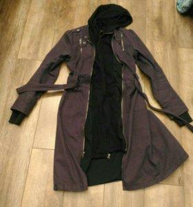 Сиреневое двойное пальто