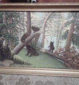 Картина холст маслом «Утро в сосновом лесу»