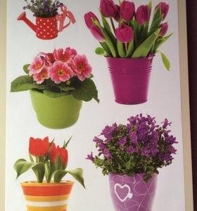 Набор наклеек Цветы в горшке,размер 37*30