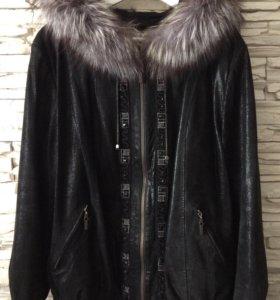 Куртка кожаная замша с мехом