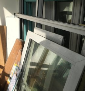 Двустворчатый стеклопакет и дверь (новые) (П44Т)