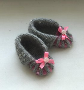 Детские вязаные пинетки носочки тапочки
