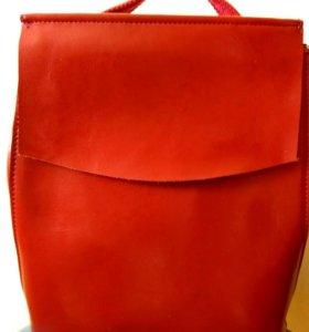 Новый кожаный рюкзак. Кэжуал стайл. Удобная штука
