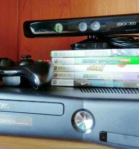 Xbox 360 250Gb+ kinect+ 5 игр