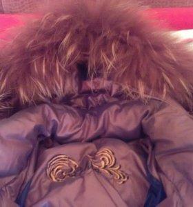 Зимняя куртка фирменная,натуральный пух и мех.