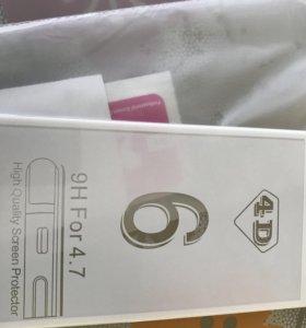 Защитное стекло 4 D на 6 айфон белое
