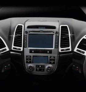 Hyundai Santa Fe (06-08) хром накладки салона