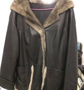 Куртка из натуральней кожи с отделкой мехом норки