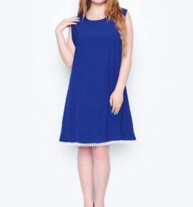 Новое синее платье со шнуровкой 54-56 р-р