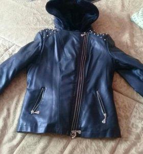 Куртка коженая теплая