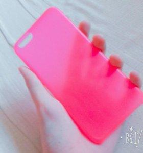 Чехол розовый на Айфон 6.