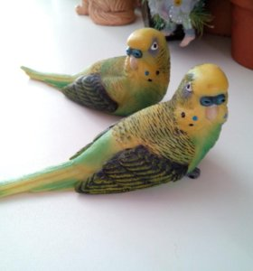 Статуэтки, парочка,попугаи волнистые
