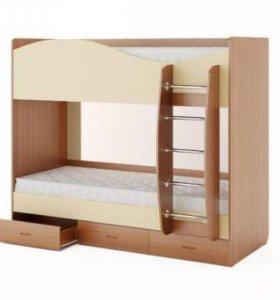 Кровать двухъярусная с ящиками. (Без матраса)