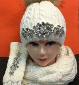 Шикарный комплект -шапка,перчатки и шарф