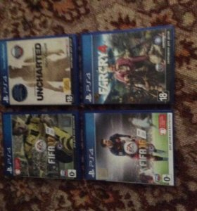 4 Диска Fifa 17,FIFA 16,Farcry 4,Uncharted для PS4