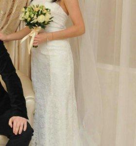 Свадебное платье+фата +накидка