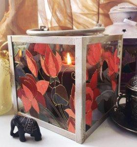 Фонарь для греющей свечи витраж