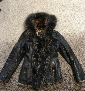 Куртка кожаная утеплённая с мехом внутри