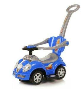 Машинка детская с рулём и ручкой 3 в 1 каталка