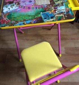 Стол складной детский и стул к нему