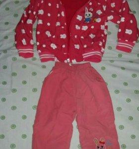 Тёплый костюм на девочку р 92-98