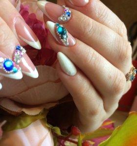 Наращивание ногтей,покрытие гель лак