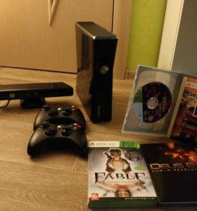 Xbox 360 S + kinect + игры
