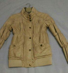 Куртка эко кожа беж меланж утепленная