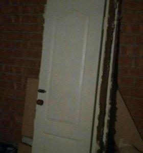 Двери с коробкой. бу. На60см.
