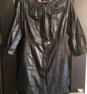 Женский кожаный тренч (плащ) 48 размер