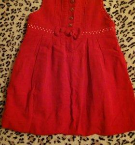 Платье вельветовое ярко-красное