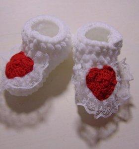 Вязаные пинеточки и шапочки для новорожденных