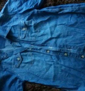 Рубашка тонкая джинса на мальчика