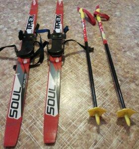 Детские лыжи 104см, палки 80см