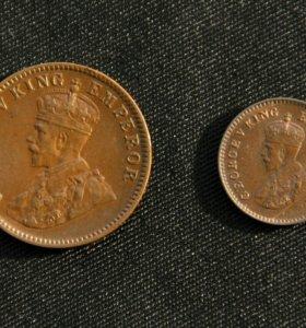 Монеты Индии 1/4 и 1/12 анна (KM# 512, KM# 510)