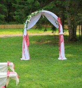 Ткань и ленты для украшения свадьбы