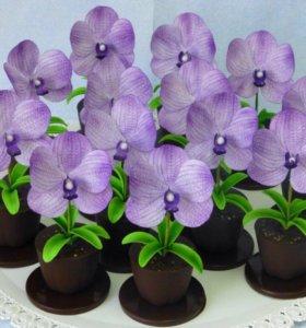Шоколадный горшочек с сахарным цветком!