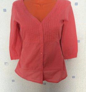 Розовая хлопковая рубашка 42-44