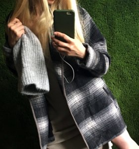 Пальто шерстяное, оversize