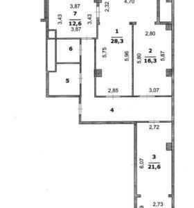 Квартира, 3 комнаты, 108 м²
