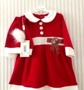 Платье новогоднее с колпаком
