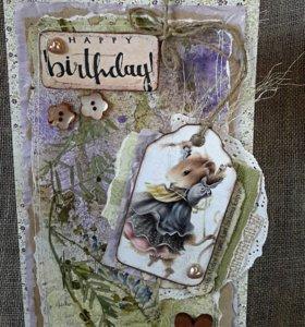 """Открытка ручной работы """"С днем рождения, Мышка"""""""