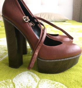 Туфли Jessika Simpson (кожаные, коричневый цвет)