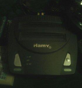 Игровая приставкаHamy2, б/у. 6 картриджей,16 бит,