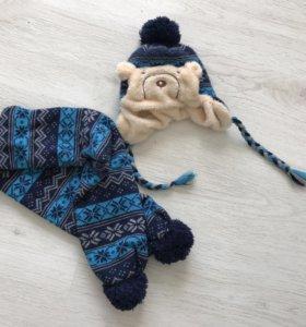 Шапка зимняя с шарфом Мишка