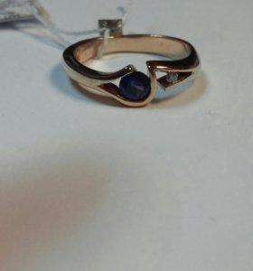 Кольцо 585 бриллиант и сапфир