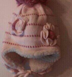 Новая!Зимняя шапка для девочки,объём 52-56 см